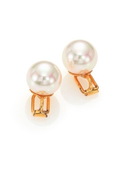 Majorica  - White Pearl Clip-On Earrings