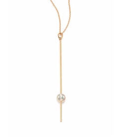 Mizuki  - White Pearl Yellow Gold Long Bar Y Necklace
