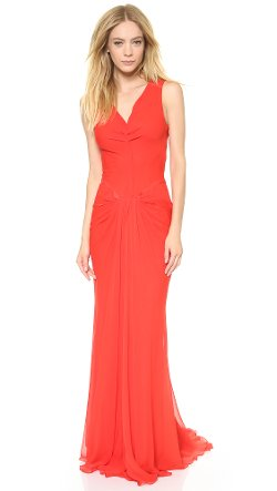 Vera Wang Collection - V Neck Draped Gown