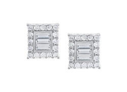 Crislu - Cubic Zirconia Square Stud Earrings