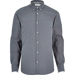 River Island - Micro Print Long Sleeve Slim Shirt
