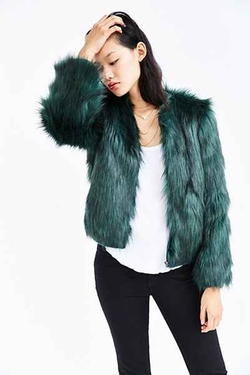 Silence + Noise  - Faux Fur Zip-Up Jacket