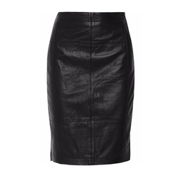 Halston Heritage - Leather And Stretch-Jersey Pencil Skirt
