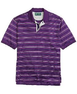 St Andrews Links  - Alternating Stripe Polo with Tipped Collar