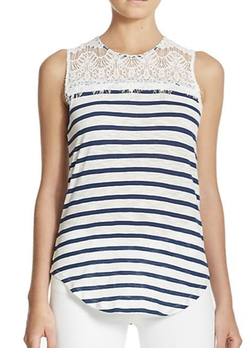 Generation Love  - Striped Lace-Detail Linen Tank Top