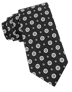 Black Brown 1826  - Wool And Silk Medallion Tie