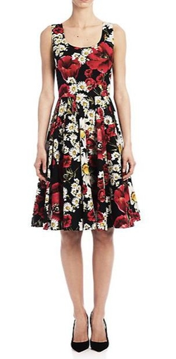 Dolce & Gabbana  - Floral Pleated Poplin Dress