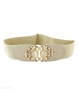 Romwe - Fashion Style PU Leather Wide Women Dressy Elastic Belt