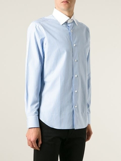 Truzzi - Contrast Collar Striped Shirt