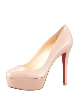 Christian Louboutin	  - Bianca Almond-Toe Platform Red Sole Pump Shoes