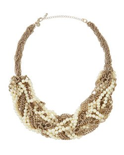 Lydell NYC - Golden Twisted Link & Pearly Bead Necklace