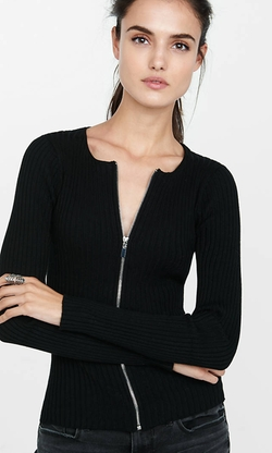 Express - Ribbed Zip-Front Cardigan