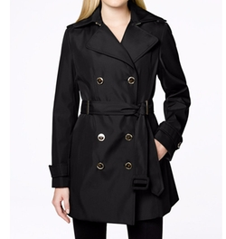 Calvin Klein - Double-Breasted Belted Water-Resistant Trench Coat