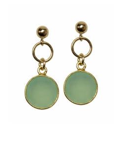 Brooklyn Designs - Monica Aqua Chalcedony Gold Earrings