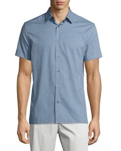 Vince - Micro-Check Print Short-Sleeve Shirt
