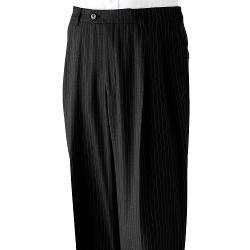 Haggar  - Classic-Fit Pleated Black Striped Expandable Waist Suit Pants