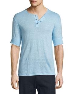 Vince - Short-Sleeve Linen Henley T-Shirt