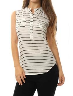 Allegra K  - Women Stand Collar Half Placket Striped Sleeveless Shirt
