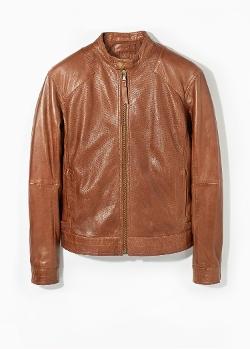 Mango - Tabbed-Waist Leather Jacket
