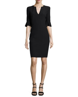Alexander McQueen - Bell-Cuff V-Neck Sheath Dress