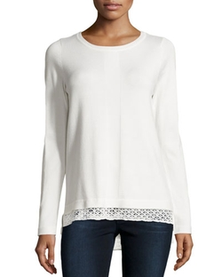 Neiman Marcus - Long-Sleeve Lace-Trim Sweater