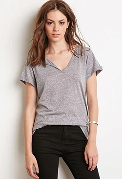 Forever 21 - Heathered Split-Neck Tee