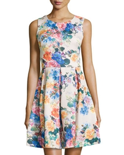 Betsey Johnson - Floral Fit-And-Flare Sleeveless Dress