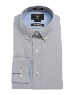 Black Brown 1826  - Fitted Micro-Print Dress Shirt