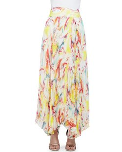 Alice + Olivia - Wavy Print Pleated Maxi Skirt