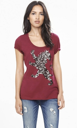 Express - Berry Sequin Lion Scoop Neck Graphic Tee