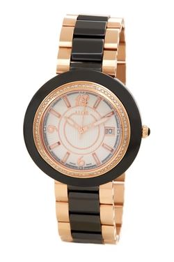 Alor - Ceramic & Rose Gold Diamond Watch