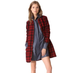 Meilaier - Zipper Plaid Long Jacket