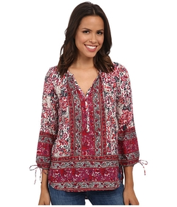 Lucky Brand  - Floral Woodblock Peasant Top