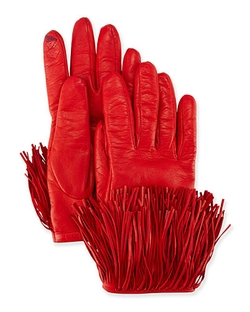 Diane Von Furstenberg - Fringe Trim Leather Gloves