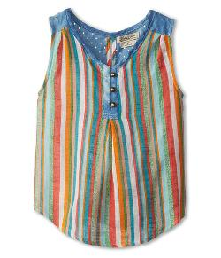 Lucky Brand Kids  - Chambray Yoke Stripe Top
