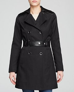 DKNY - Mixed-Media Belted Trench Coat