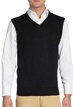 Saks Fifth Avenue Black  - Sweater Wool Vest