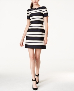 Vince Camuto - Jewel-Neck Striped Shift Dress