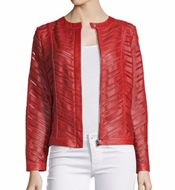 Neiman Marcus  - Striped Leather Jacket