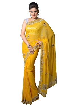 Aarti Saree - Faux Georgette Designer Embroidery Saree