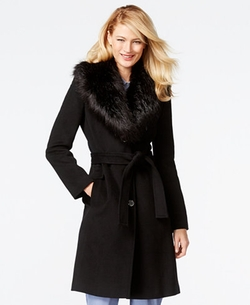 Calvin Klein   - Faux-Fur-Collar Walker Coat