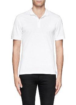 Alexander McQueen  - Skull Logo Embroidery Piqué Polo Shirt