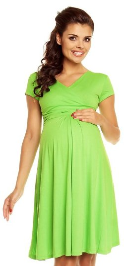 Zeta Ville Fashion - Maternity Short Sleeves Circle Jersey Dress