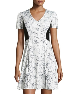 Catherine Catherine Malandrino  - Short-Sleeve Ponte Splatter-Print Dress