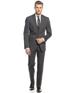 Kenneth Cole Reaction  - Charcoal Tonal Stripe Peak Lapel Slim-Fit Suit