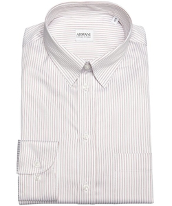 Armani Collezioni  - Red Striped Cotton Point Collar Dress Shirt