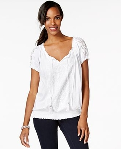 Style & Co.  - Short-Sleeve Lace-Trim Peasant Top