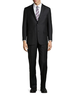 Hickey Freeman - Solid Two-Button Two-Piece Suit