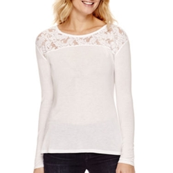 a.n.a - Long-Sleeve Lace Shoulder T-Shirt