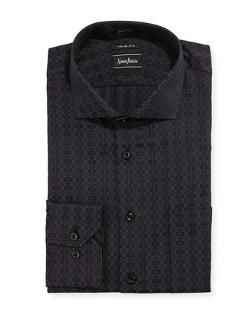 Neiman Marcus - Trim-Fit Geometric-Print Dress Shirt